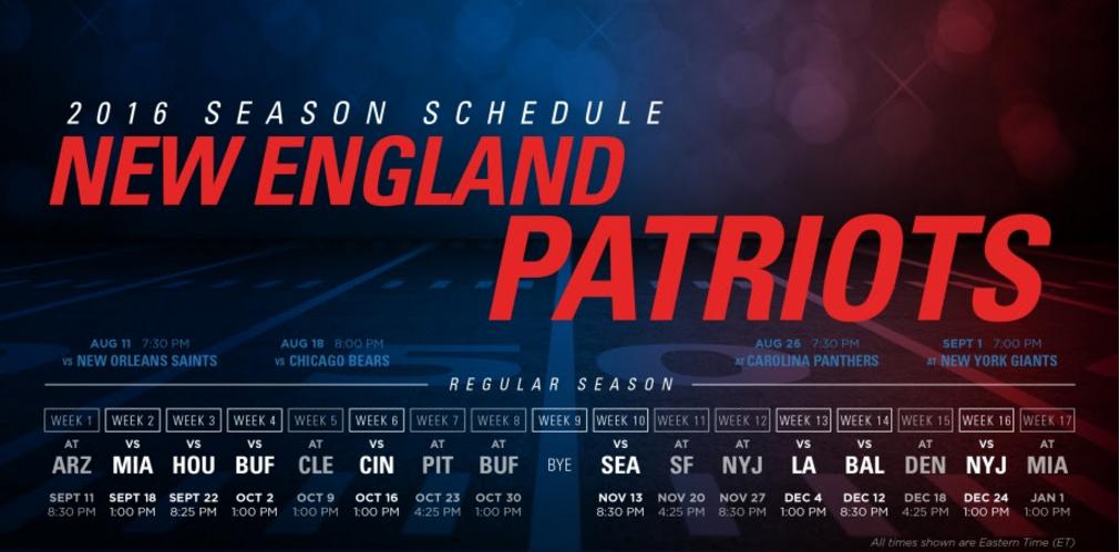 Patriots 2016 Schedule